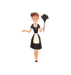 maid wearing uniform with duster housemaid vector image