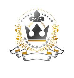 majestic crown emblem heraldic coat of arms vector image