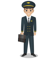 Male pilot holding bag vector