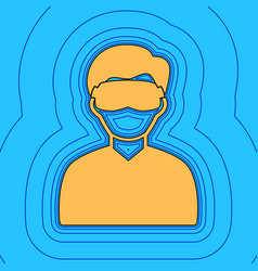 man with sleeping mask sign sand color vector image