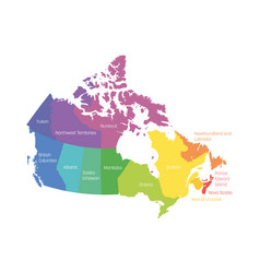 Map of canada divided into 10 provinces and 3 vector