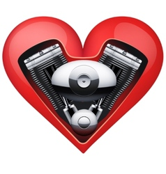 Metal engine inside a red heart vector