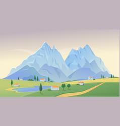 Mountain village landscape vector