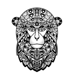 Ornamental Black Monkey vector image