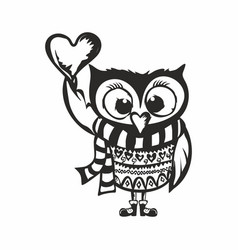 owl with heart vector image
