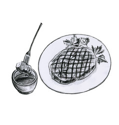 Piece meat on a plate for barbecue vector