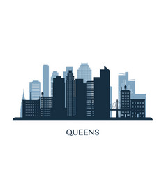 Queens skyline monochrome silhouette vector