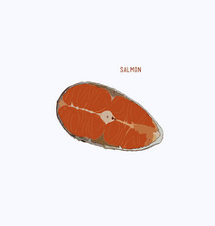 Raw salmon slice for grilled steak sketch vector