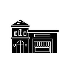 restaurant building black icon concept restaurant vector image