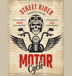 retro poster bikers skull motorcycle gang rider vector image