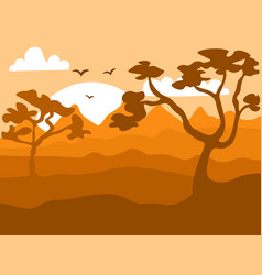 safari cartoon background desert savanna panorama vector image