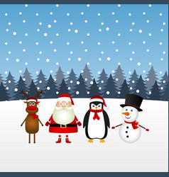 santa claus with snowman reindeer and penguin in vector image