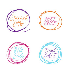 scribble circle drawn in scetch special offer and vector image