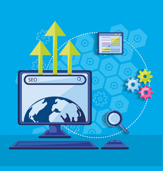 search engine optimization with desktop vector image