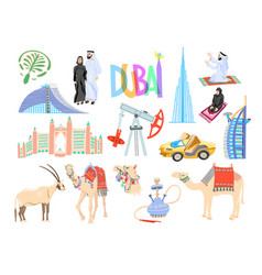 set 15 hand drawing icon symbol from dubai vector image