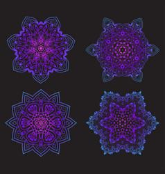 set ethnic fractal mandala tattoo design looks vector image