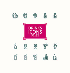 Set of of icons of drinks vector