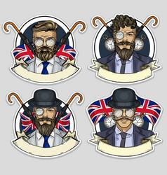 Sketch set british men vector