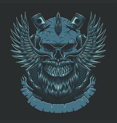 Skull wing motorcycles club vector