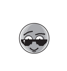 Smiling cartoon face wear sunglasses positive vector