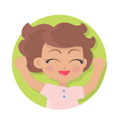 Smiling girl with raised hands brown wavy hair vector