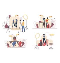 Social media content maker characters set vector