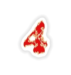 Sticker fiery font red number 4 on white vector