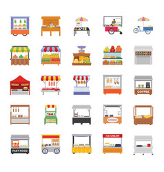street stalls flat icons vector image