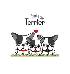 terrier dog family father mother and newborn baby vector image