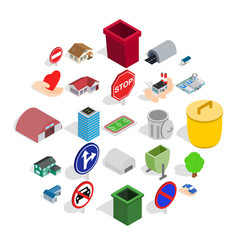 Township icons set isometric style vector