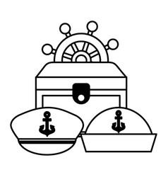 treasure chest ship helm hats uniform marine vector image