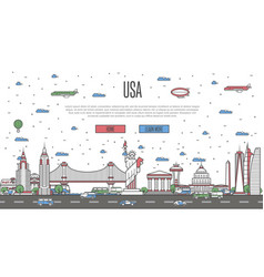 Usa skyline with national famous landmarks vector
