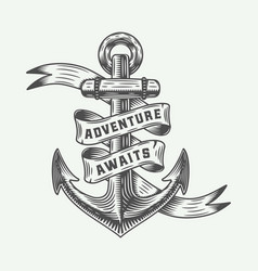Vintage anchor in retro style with adventures vector
