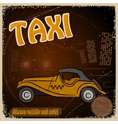 Vintage Postcard with the image taxis vector image vector image