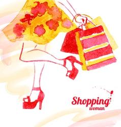 Watercolor shopping women design vector image