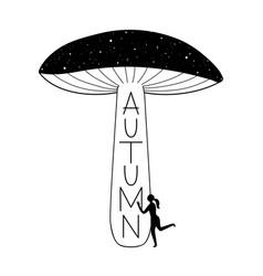With woman hugging huge mushroom stars and grunge vector
