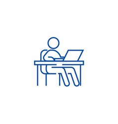working at tableworkplacemanagement line icon vector image