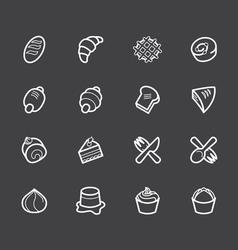 bakery popular white icon set on black background vector image vector image