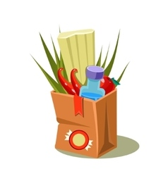 Brown Paper Bag With Food vector image