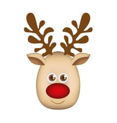 Colorful cartoon cute face reindeer animal vector
