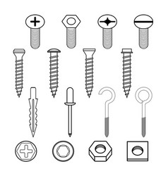 fastener wall hooks bolts and wall plugs vector image