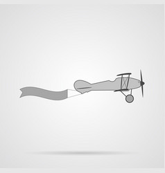 gray retro plane with banner flat icon vector image vector image