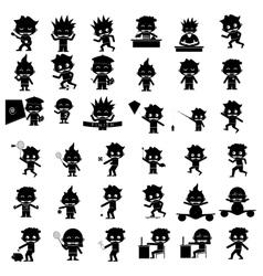 sillhouettes kid hobbies vector image