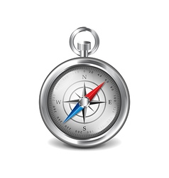 Silver compass isolated on white vector image