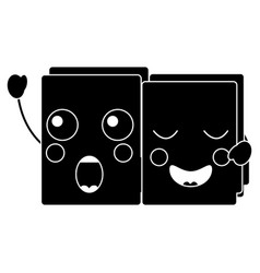 two happy folder file cartoon kawaii icon vector image
