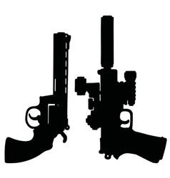 Black heavy handguns vector