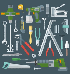 Color flat style various house remodel instruments vector