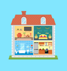 family home in cut vector image