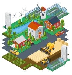 Isometric farm scene Village setting with vector image