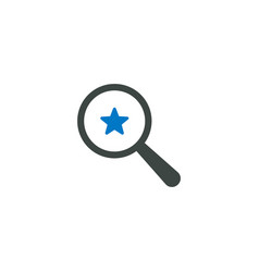 magnifying glass icon star icon vector image